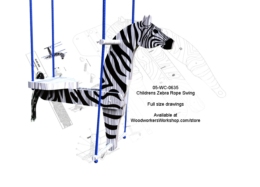 Childrens Zebra Rope Swing Full Size Woodworking Plans
