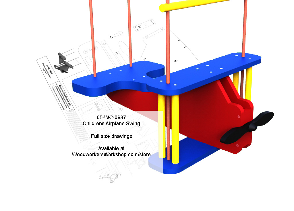 05-WC-0637E - Childrens Airplane Rope Swing Full Size Woodworking Plan.