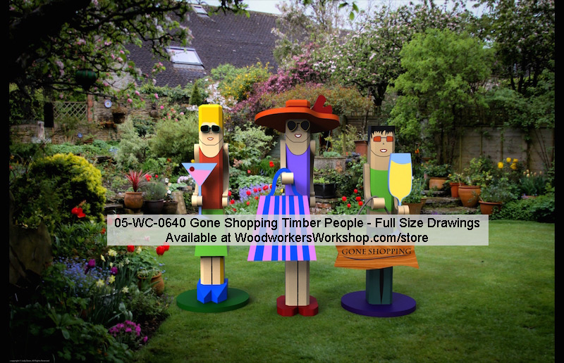 05-WC-0640E - Gone Shopping Timber People Yard Art Woodworking Pattern