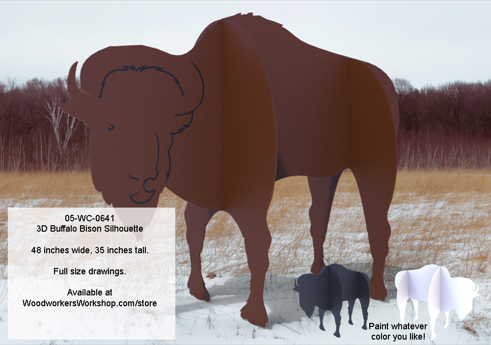 05-WC-0641 - 3D Buffalo Bison Silhouette Yard Art Woodworking Pattern