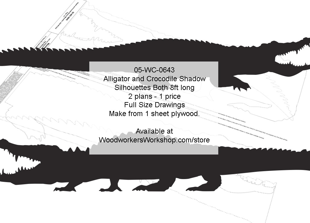 Alligator and Crocodile 8ft Long Shadow Silhouette Woodworking Pattern