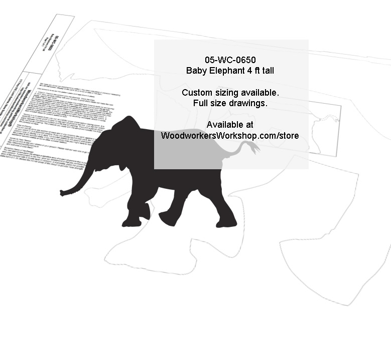 Elephant Baby 4 ft tall Yard Art Woodworking Pattern