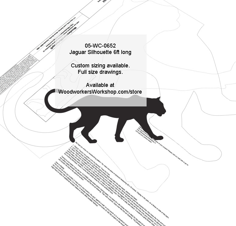 05-WC-0652 - Jaguar 6ft long Silhouette Yard Art Jig Saw Woodworking Pattern