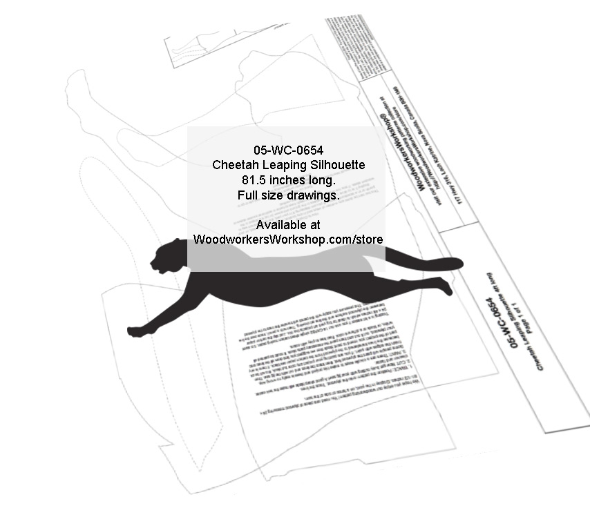 05-WC-0654 - Cheetah Leaping Silhouette Yard Art Jig Saw Woodworking Pattern