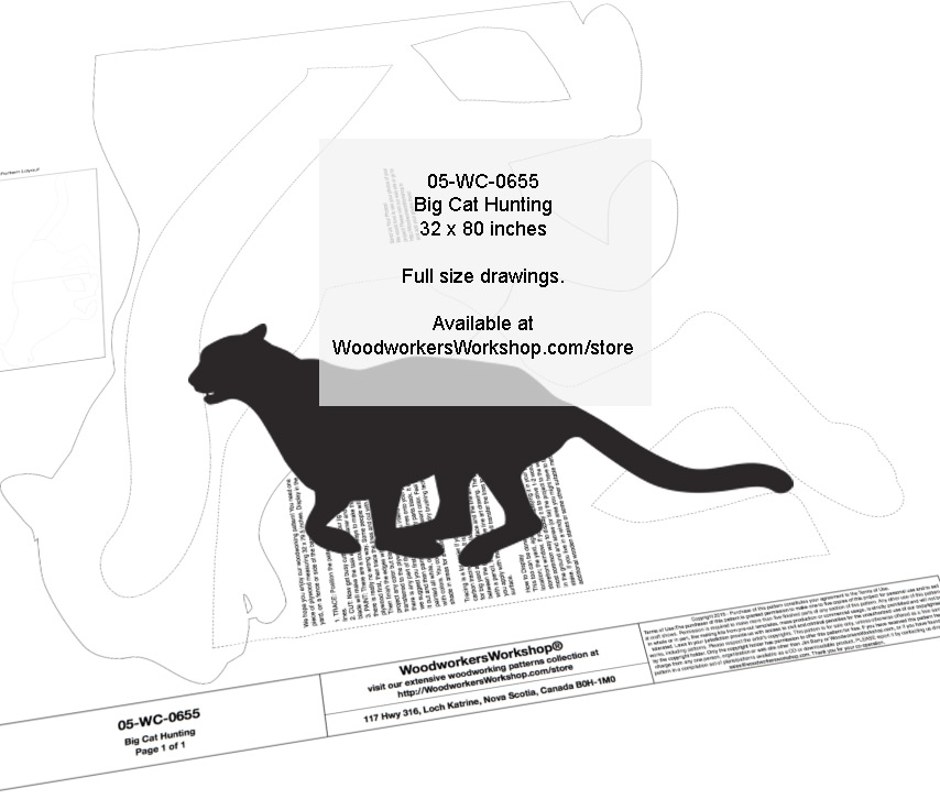 Big Cat Hunting Silhouette Yard Art Jig Saw Woodworking Pattern