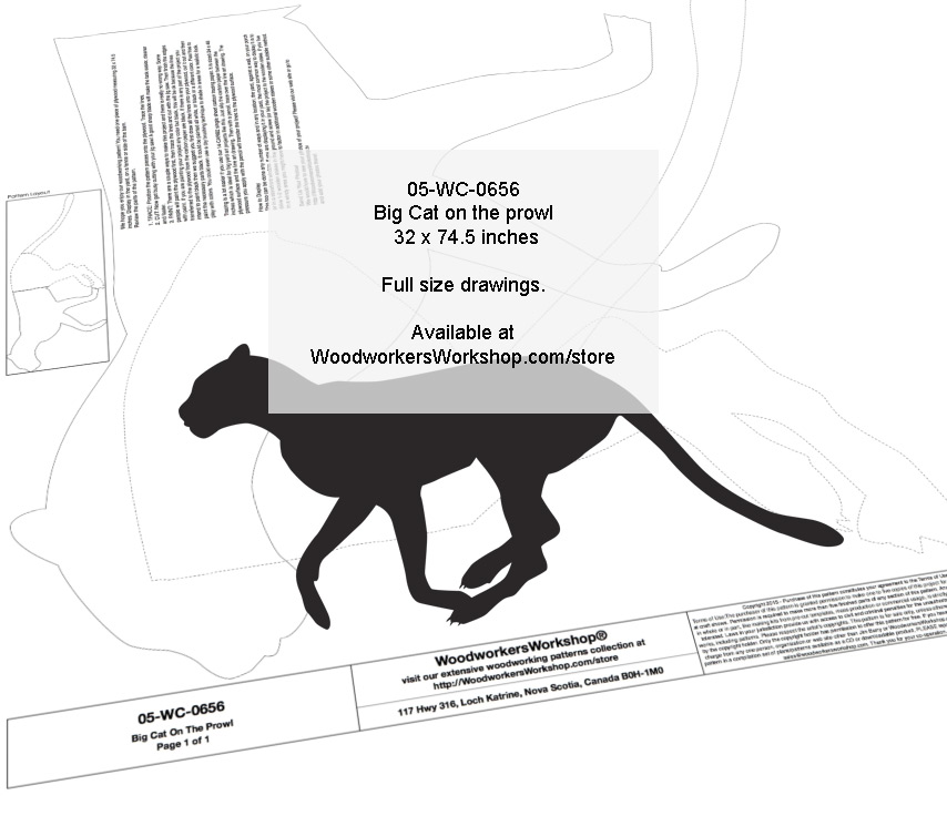 Big Cat on the Prowl Silhouette Yard Art Jig Saw Woodworking Pattern