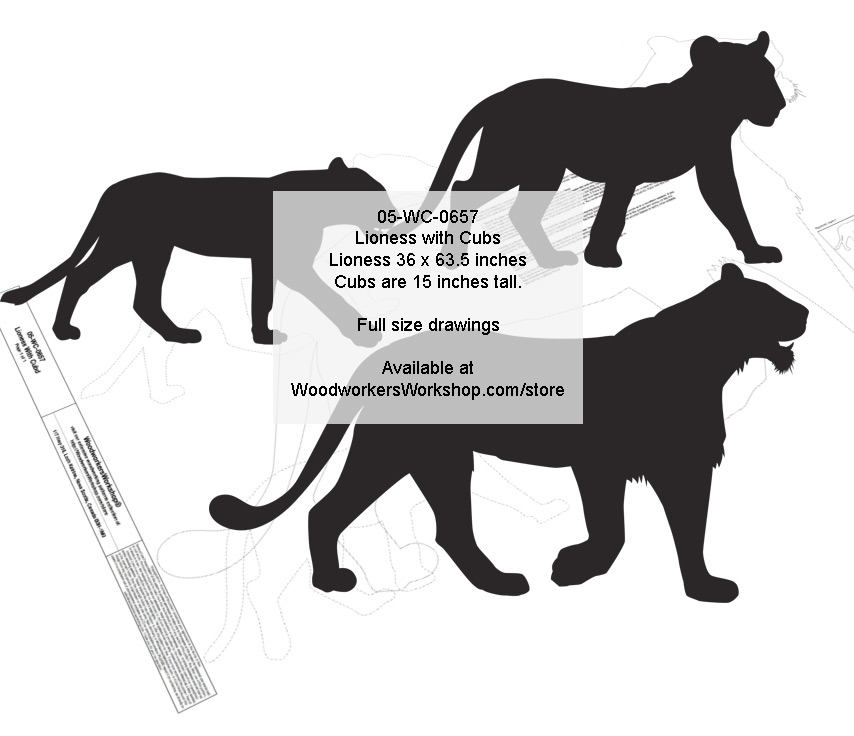 05-WC-0657 - Lioness with Cubs Silhouette Yard Art Jig Saw Woodworking Pattern