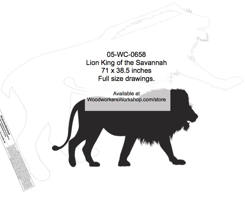 Lion King of the Savannah Silhouette Yard Art Woodworking Pattern