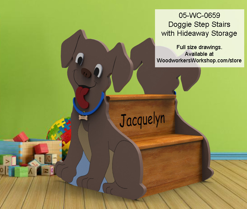Dog Step Stairs with Hideaway Storage Woodworking Plan.