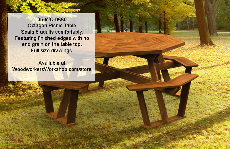 05-WC-0660 - Octagon Picnic Table with removable top Woodworking Plan.