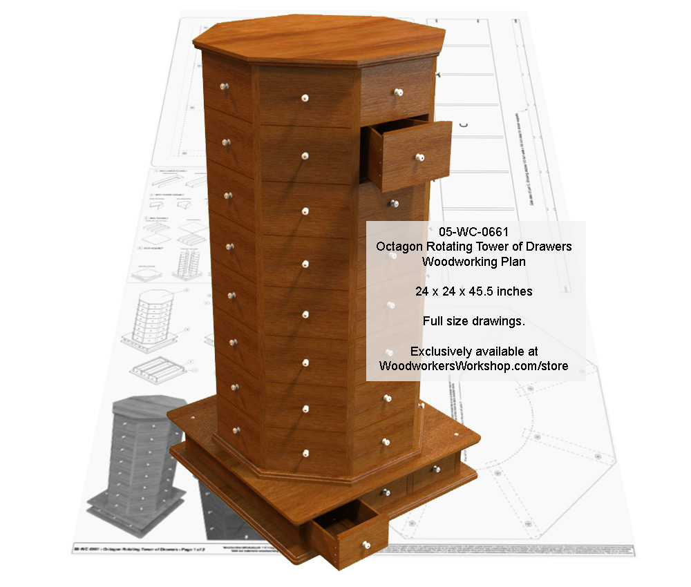 Octagon Rotating Tower of Drawers Woodworking Plan