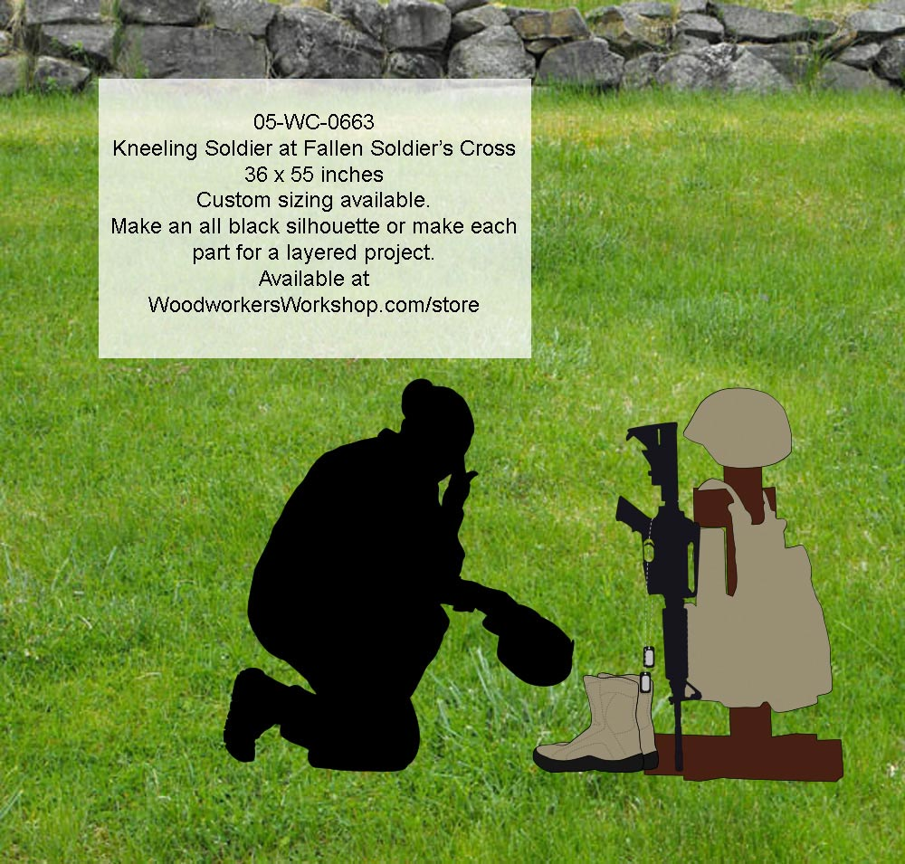 Kneeling Soldier at Fallen Soldiers Cross Yard Art Silhouette Pattern woodworking plan
