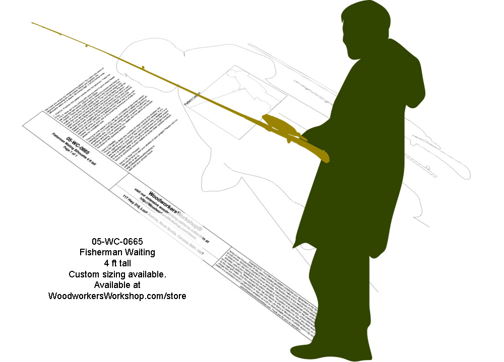 Fisherman Waiting 4 ft Tall Yard Art Silhouette Woodworking Pattern