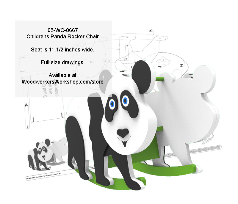 05-WC-0667 - Childrens Panda Rocker Chair Woodworking Plan
