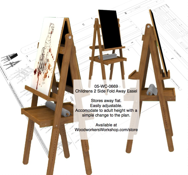 05-WC-0669 - Childrens 2 Sided Art Easel Woodworking Plan.