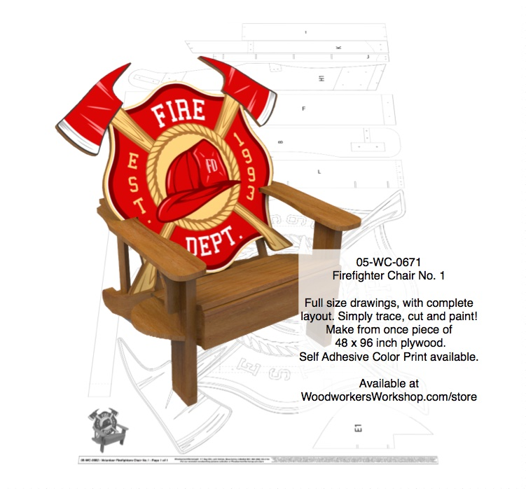 Adirondack Firefighter Chair No. 1 Full Size Woodworking Plan