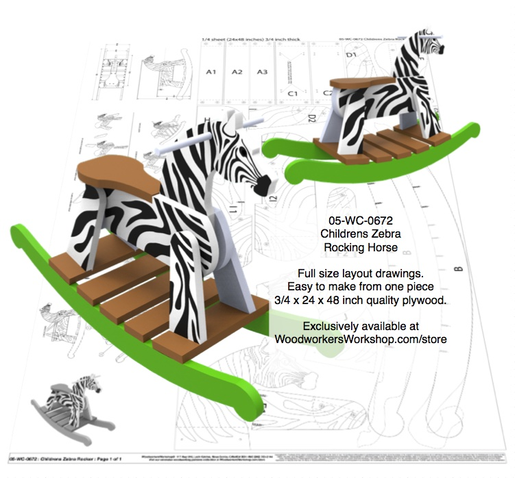 Childrens Zebra Rocking Horse Full Size Layout Wood Plan.