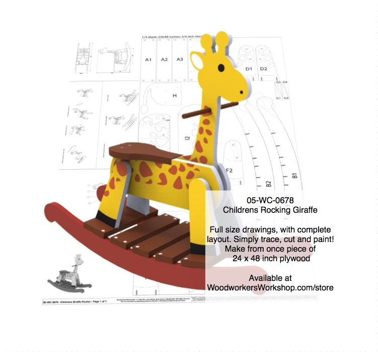 Childrens Giraffe Rocker Woodworking Pattern.