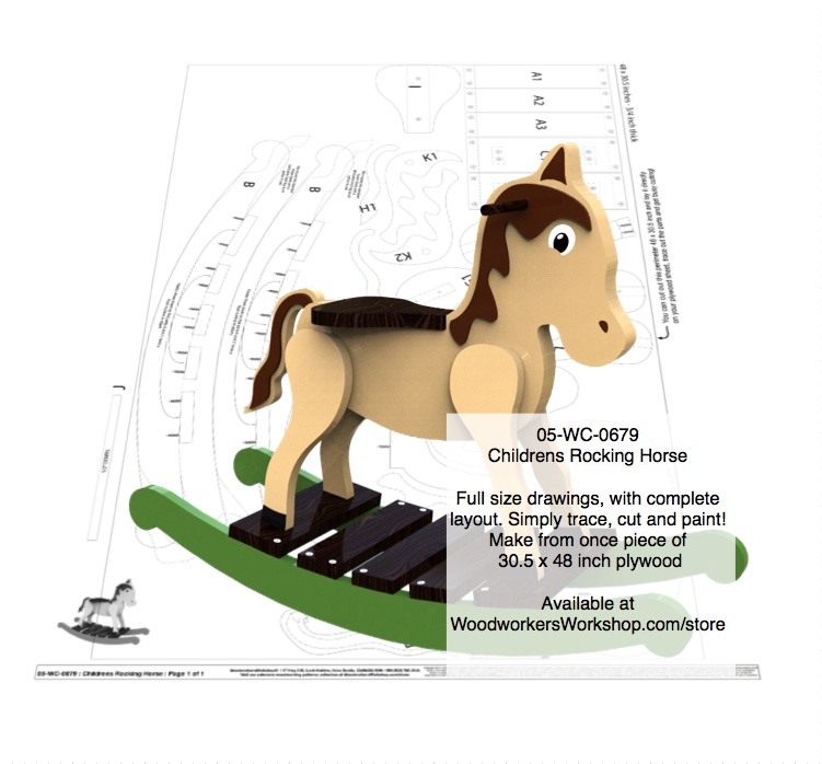 Childrens Horse Rocker Woodworking Pattern