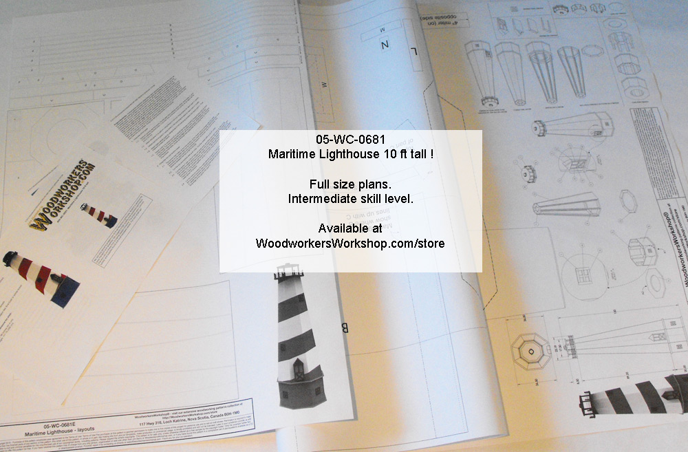 Maritime Lighthouse 10 ft tall Full Size Woodworking Plans.