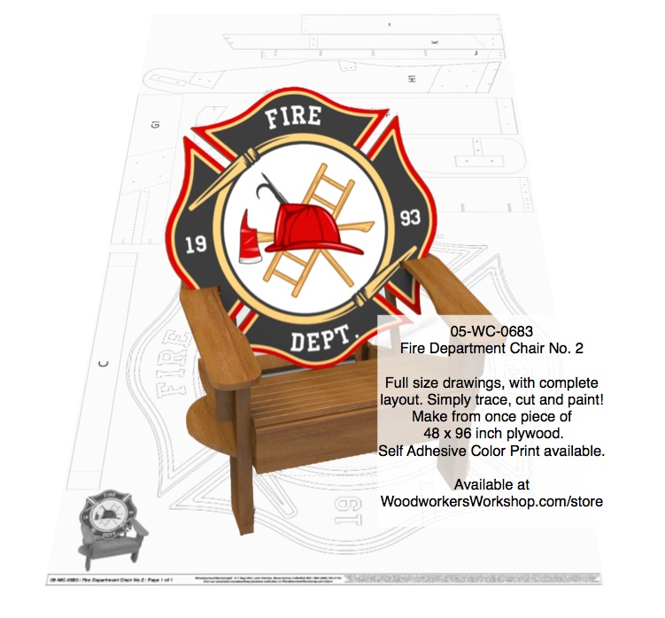 Adirondack Fire Department Chair No. 2 Full Size Woodworking Plan woodworking plan