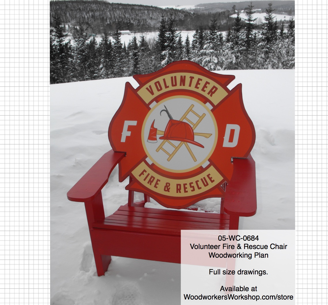 Volunteer Fire and Rescue Chair Number 3 Woodworking Pattern.