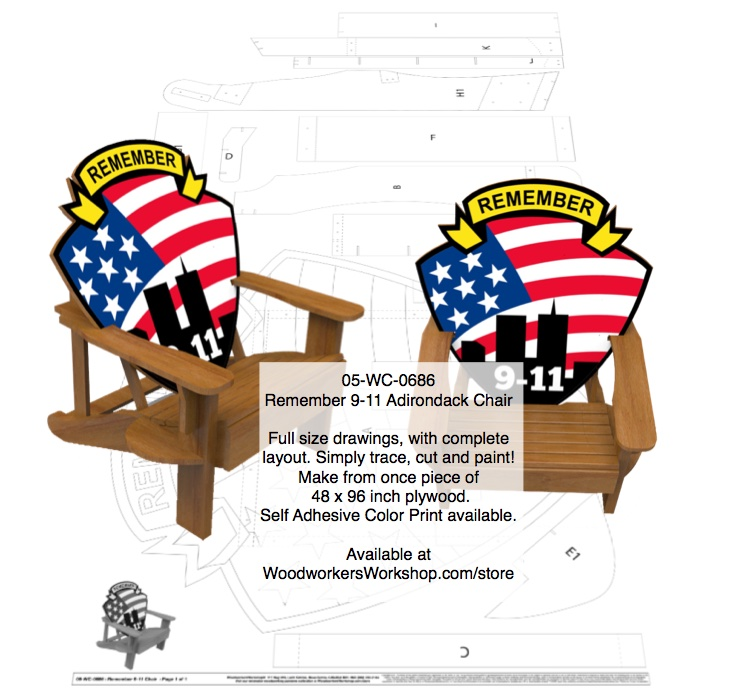 Remember 9-11 Adirondack Chair Woodworking Plan.