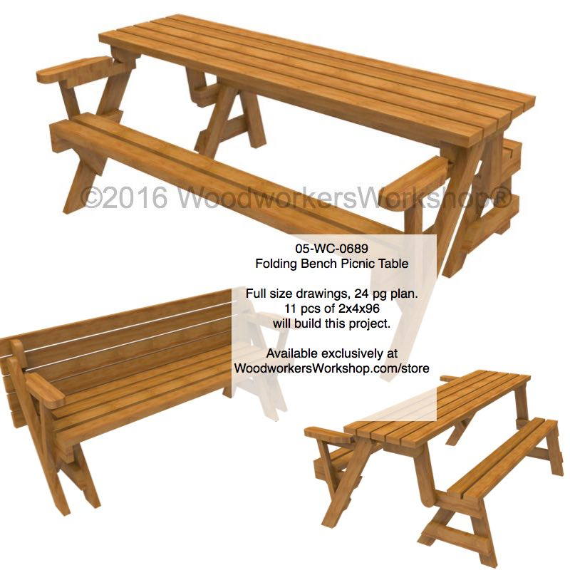 05-WC-0689 - Folding Bench Picnic Table Woodworking Plan with Full Size Templates