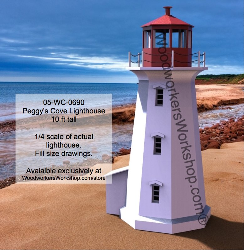 05 wc 0690 peggys cove lighthouse woodworking plan 10ft for Lighthouse blueprints plans