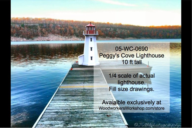 05-WC-0690 - Peggys Cove Lighthouse Woodworking Plan 10ft tall