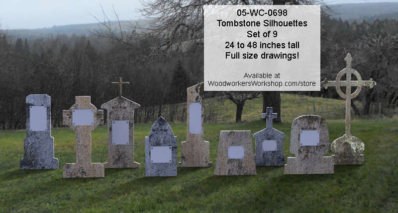 Tombstone Silhouettes Yard Art Woodworking Patterns Set of 9