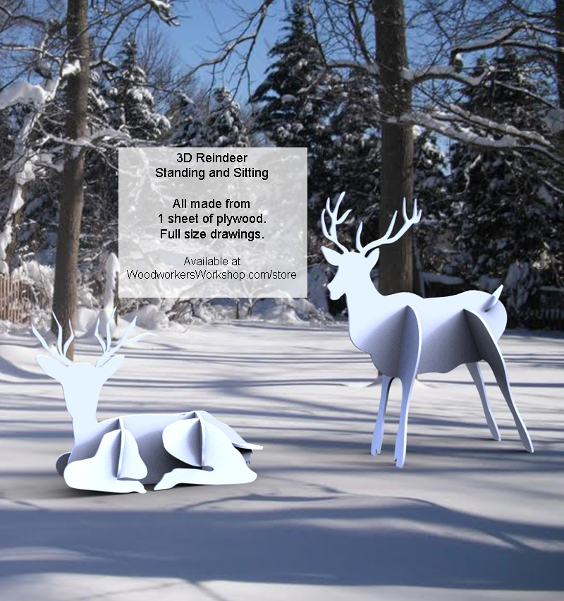 3d Reindeer Standing And Sitting Yard Art Woodworking Drawings