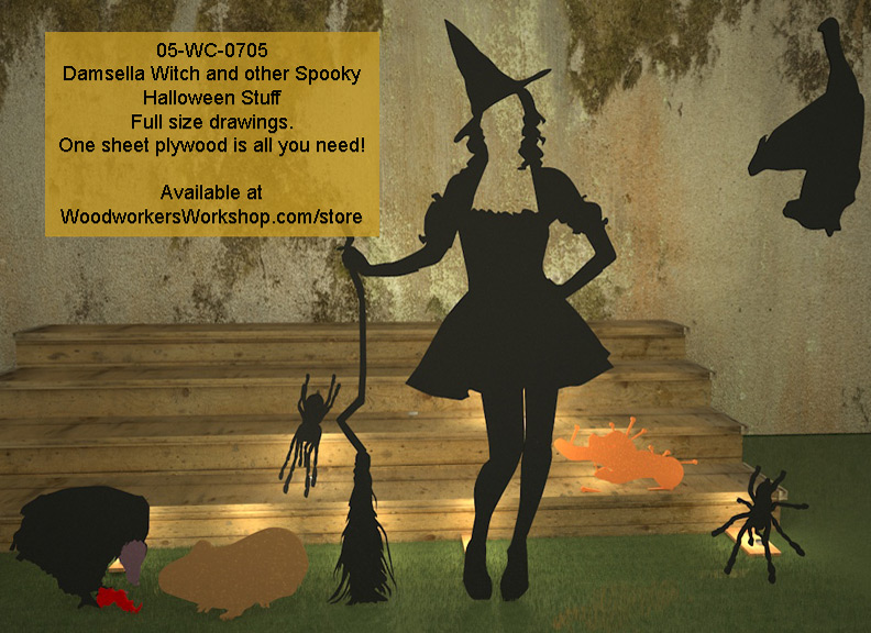 05-WC-0705 - Damsella Witch and other Spooky Stuff Halloween Woodworking Drawings