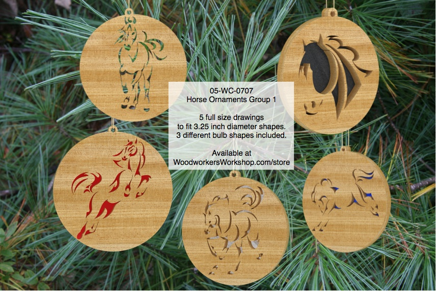 Horse Ornaments Group 1 Scrollsaw Woodworking Pattern Set