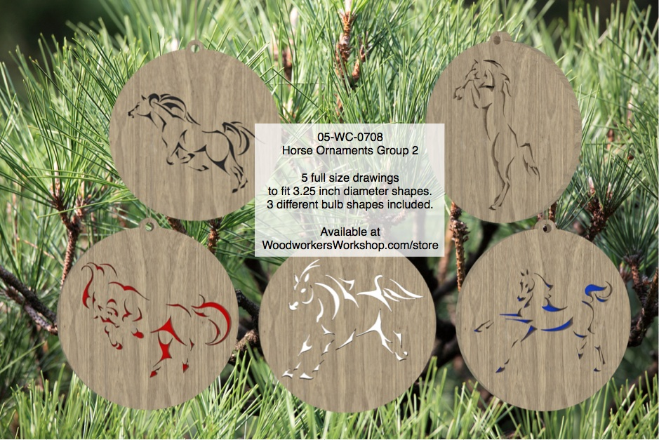 05-WC-0708 - Horse Ornaments Group 2 Scrollsaw Woodworking Pattern Set