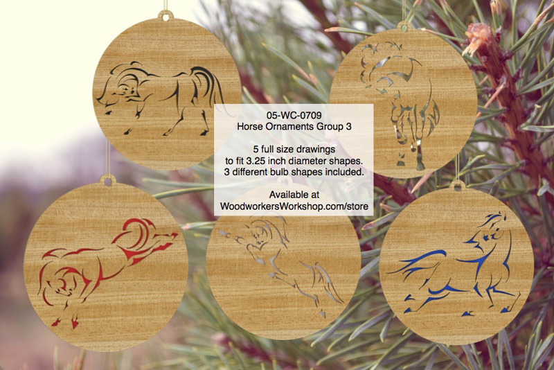 05-WC-0709 - Horse Ornaments Group 3 Scrollsaw Woodworking Pattern Set