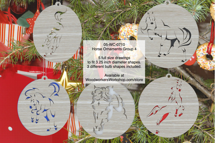 05-WC-0710 - Horse Ornaments Group 4 Scrollsaw Woodworking Pattern Set