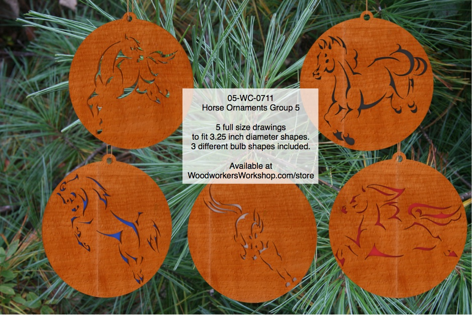 Horse Ornaments Group 5 Scrollsaw Woodworking Pattern Set