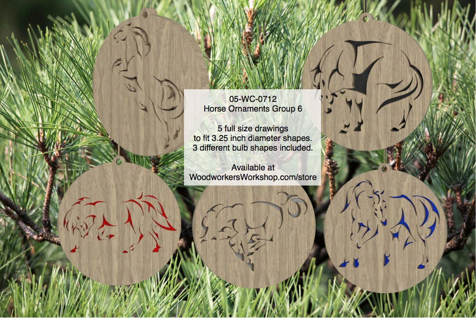 Horse Ornaments Group 6 Scrollsaw Woodworking Pattern Set