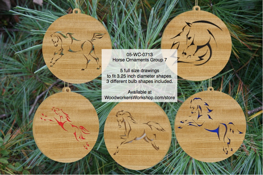 Horse Ornaments Group 7 Scrollsaw Woodworking Pattern Set