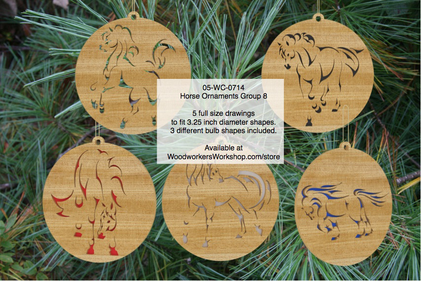 Horse Ornaments Group 8 Scrollsaw Woodworking Pattern Set