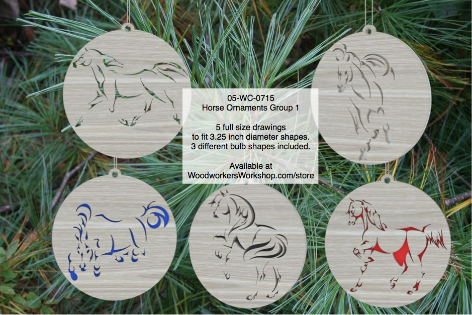 05-WC-0715 - Horse Ornaments Group 9 Scrollsaw Woodworking Pattern PDF