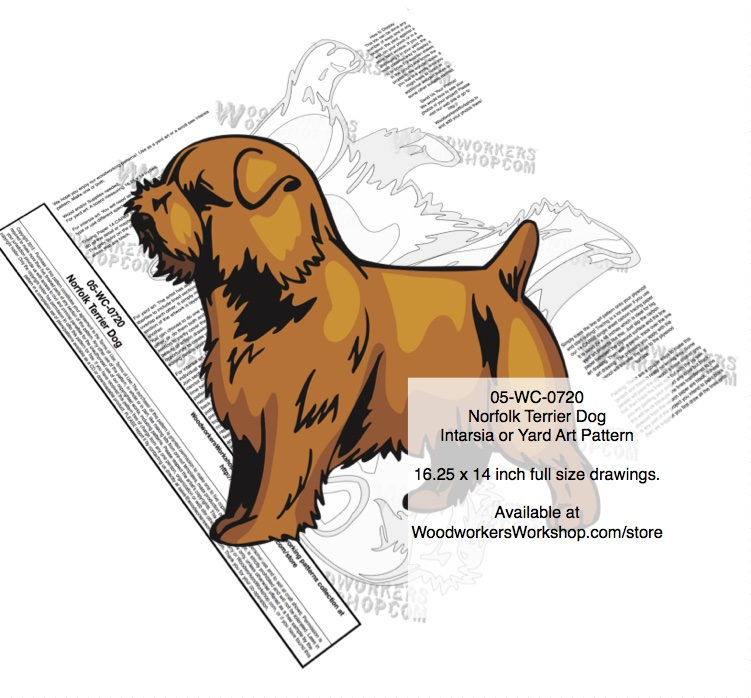 Norfolk Terrier Dog Intarsia or Yard Art Woodworking Pattern