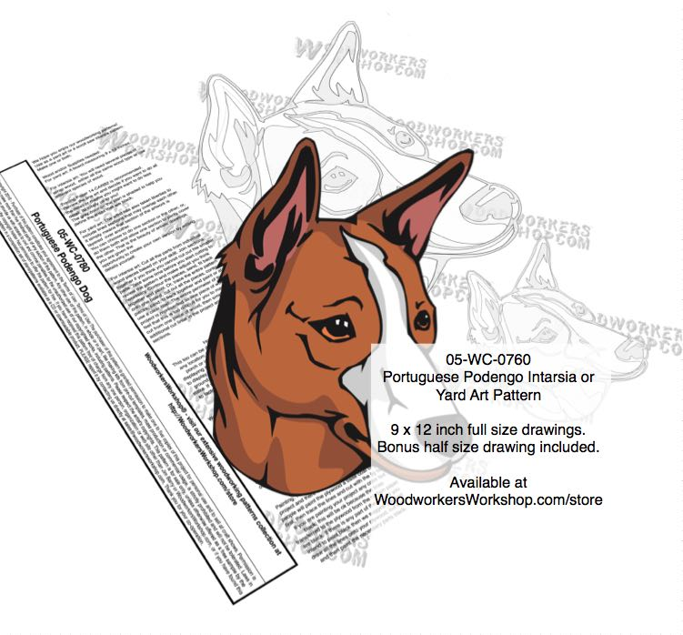 Portuguese Podengo Dog Intarsia or Yard Art Woodworking Pattern