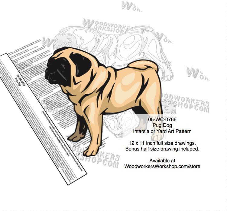 Pug Dog Yard Art Woodworking Pattern