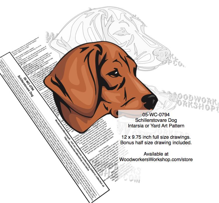 Schillerstovare Dog Intarsia - Yard Art Woodworking Pattern