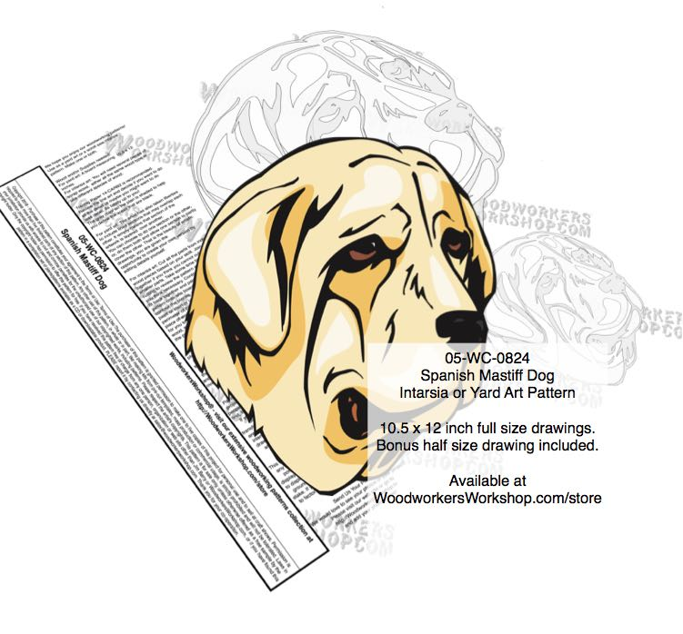 Spanish Mastiff Dog Intarsia Yard Art Woodworking Plan