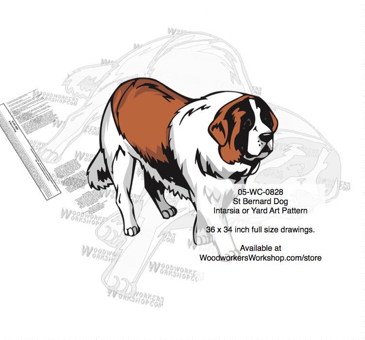 st bernard dog intarsia yard art woodworking plan woodworkersworkshop
