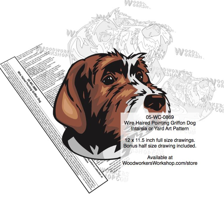Wire Haired Pointing Griffon Dog Intarsia Yard Art Woodworking Plan