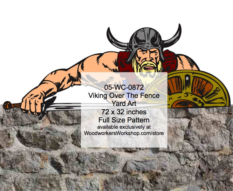 Viking Over The Fence Yard Art Woodworking Pattern woodworking plan